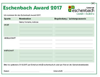 Talon Eschenbach Award 2017