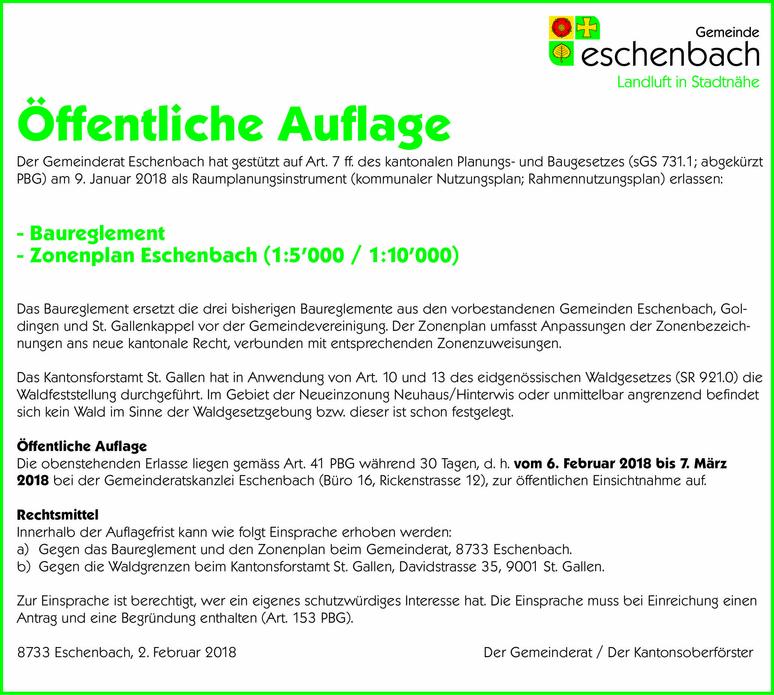 Öffentliche Auflage zum Baureglement der Gemeinde Eschenbach