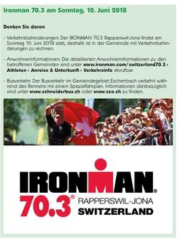 Ironman 70.3 am Sonntag, 10. Juni 2018