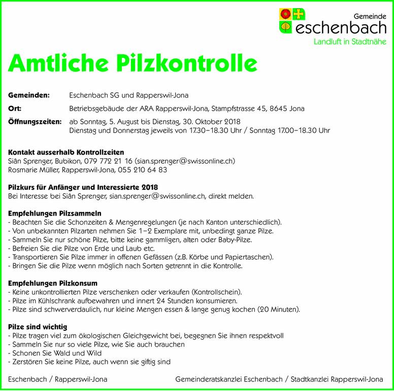 Amtliche Pilzkontrolle 2018
