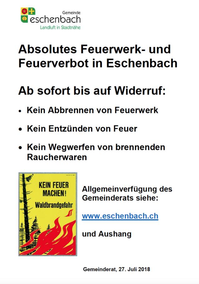 Absolutes Feuerwerk- und Feuerverbot in Eschenbach