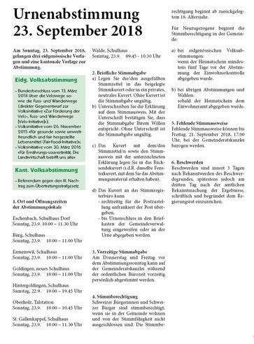 Urnenabstimmung vom 23. September 2018