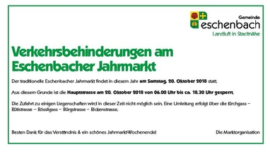 Verkehrsbehinderungen am Eschenbacher Jahrmarkt