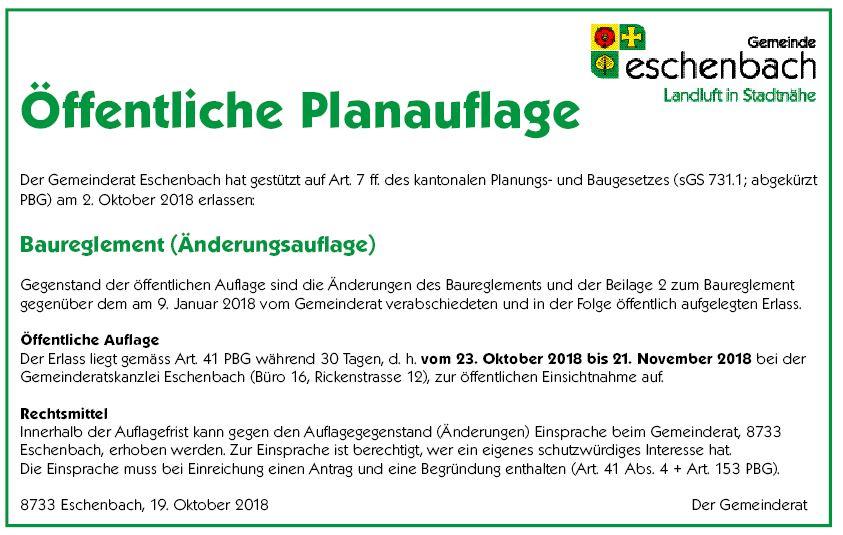 änderungsauflage baureglement vom 23.10. bis 21.11.2018