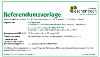 Referendumsvorlage: Baureglement und Zonenplan Eschenbach