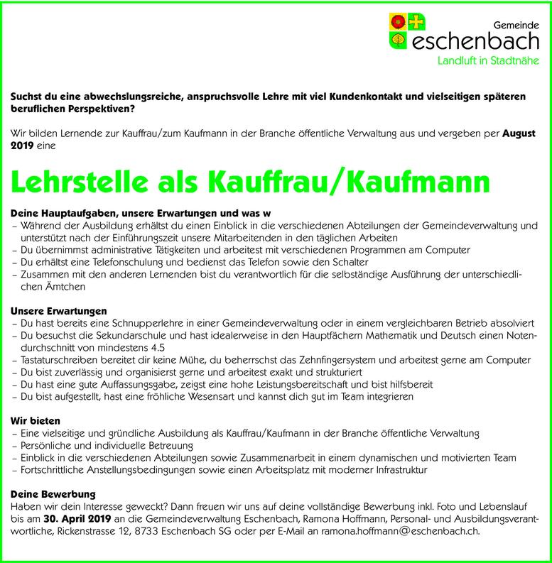 Lehrstelle als Kauffrau/Kaufmann auf Sommer 2019, Gemeindeverwaltung Eschenbach