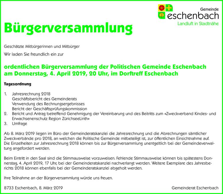 Bürgerversammlung vom 4.4.2019 in Eschenbach SG