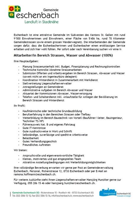 Stelleninserat MitarbeiterIn Bereich Strassen, Wasser und Abwasser (100%)