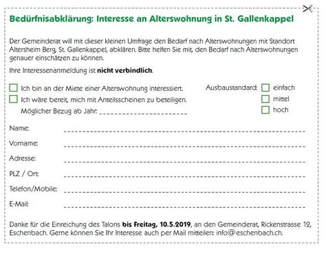 Bedürfnisabklärung: Interesse an Alterswohnung in St. Gallenkappel
