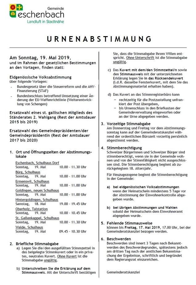 Urnenabstimmung vom 19. Mai 2019