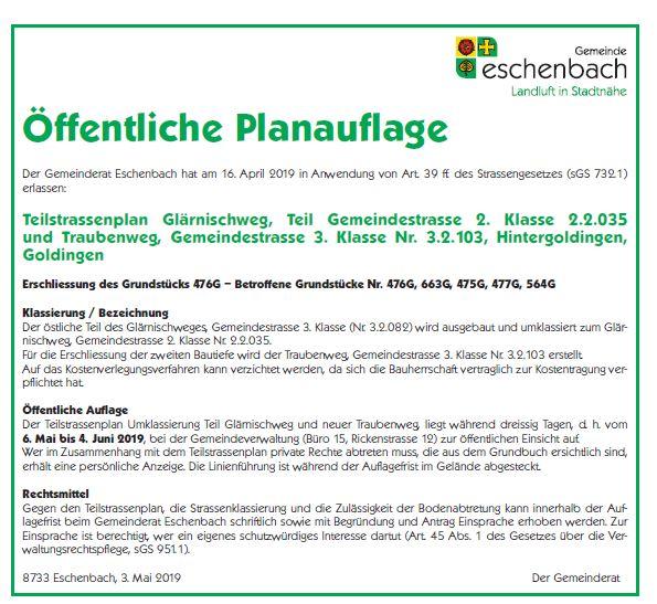 Teilstrassenplan Umklassierung Glärnischweg und neuer Traubenweg