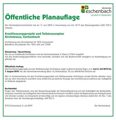 Öffentliche Planauflage: Teilstrassenplan Kirchstrasse, Eschenbach