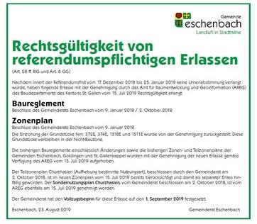 Rechtsgültigkeit von referendumspflichtigen Erlassen_Baureglement und Zonenplan