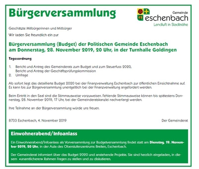 Bürgerversammlung vom 28.11.19