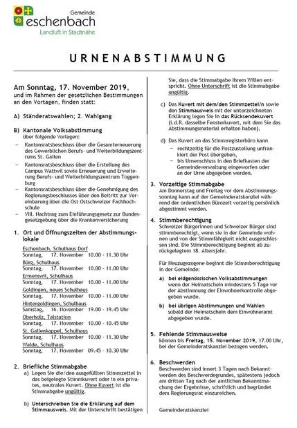 Urnenabstimmung vom 17. November 2019
