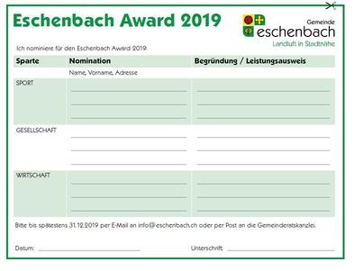 Anmeldetalon Eschenbach Award 2019