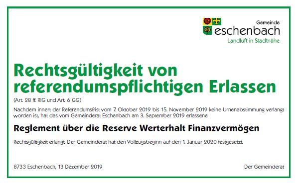 Rechtsgültigkeit von referendumspflichtigen Erlassen_Reglement über die Reserve Werterhalt Finanzvermögen