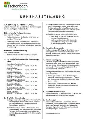Urnenabstimmung vom 9. Februar 2020