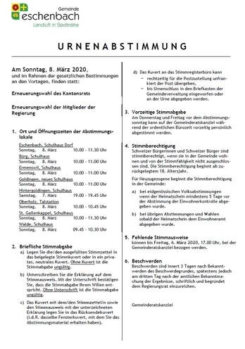 Urnenabstimmung vom 8. März 2020