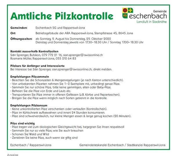 Amtliche Pilzkontrolle 2020