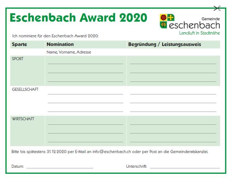 Eschenbach Award 2020_Nominationtalon