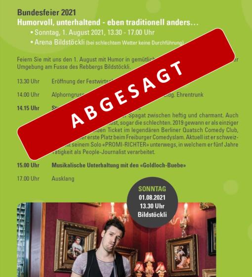 Bundesfeier 2021 ABGESAGT